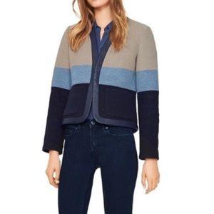 Tory Burch Leather Trim Blanket Stripe Jacket 8